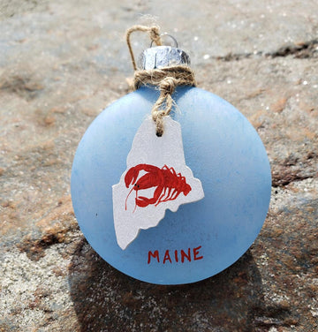 Maine Sea Glass Lobster Ornament
