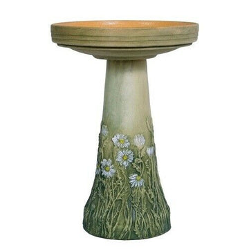 Daisy Hand Painted Bird Bath- CAN SHIP - or - PRE ORDER - ARRIVES EARLY MARCH 2021