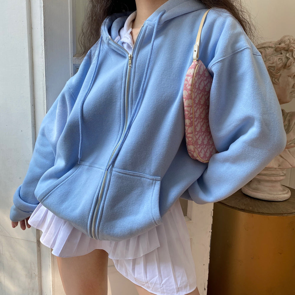 Basics Boyfriend Zip Up Hoodie