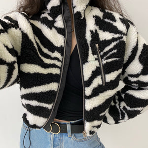 Load image into Gallery viewer, Trend Setter Lambswool Coat // Zebra