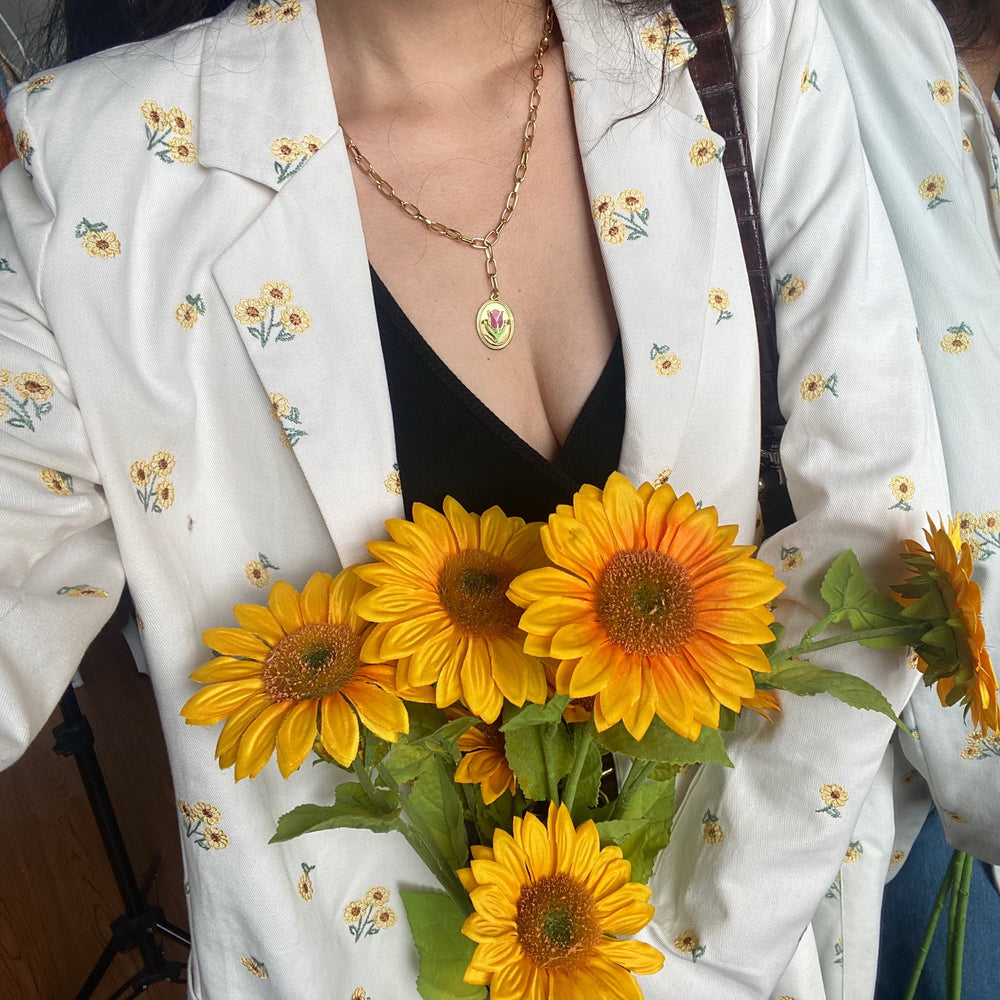 White Sunflower Embroidered Blazer
