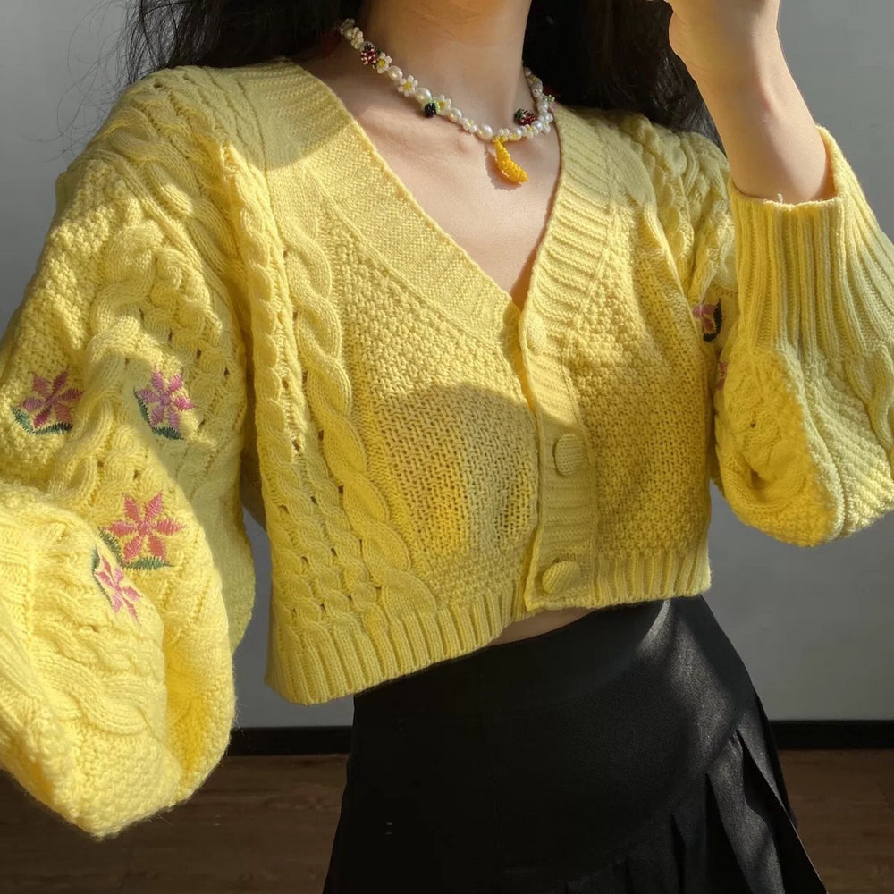 Lemon Cable Knit Cropped Cardigan