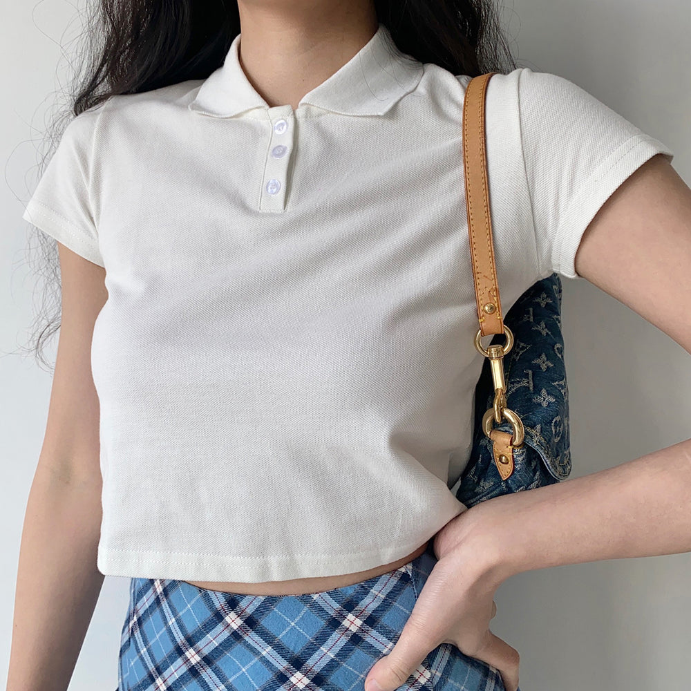 Load image into Gallery viewer, Basics Crop Polo Top
