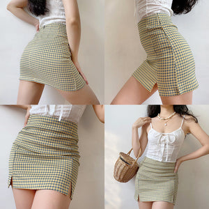 Olive Check Mini Skirt - Pellucid