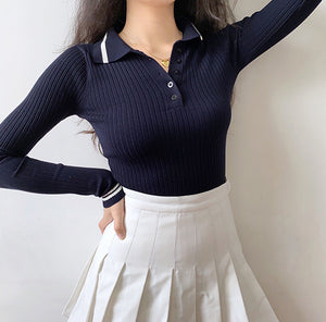 Load image into Gallery viewer, Navy Academy Polo Knit Top ~ HANDMADE