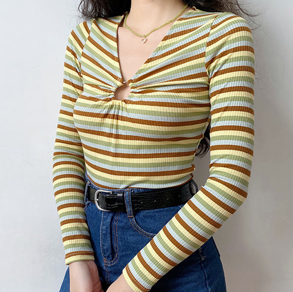 Load image into Gallery viewer, 60s Hollow Ring Striped Shirt ~ HANDMADE