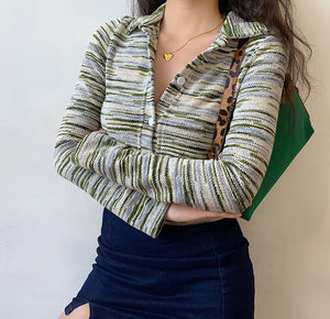 Load image into Gallery viewer, Earthy Tones Striped Cardigan ~ HANDMADE