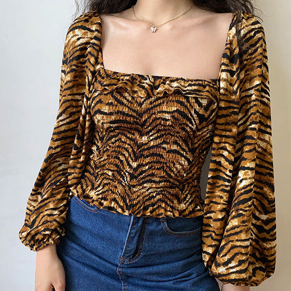 Tiger Pattern Shirred Top ~ HANDMADE