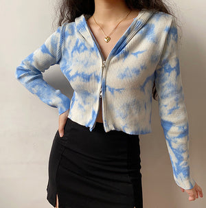Tie-Dye Double Zipper Cardigan