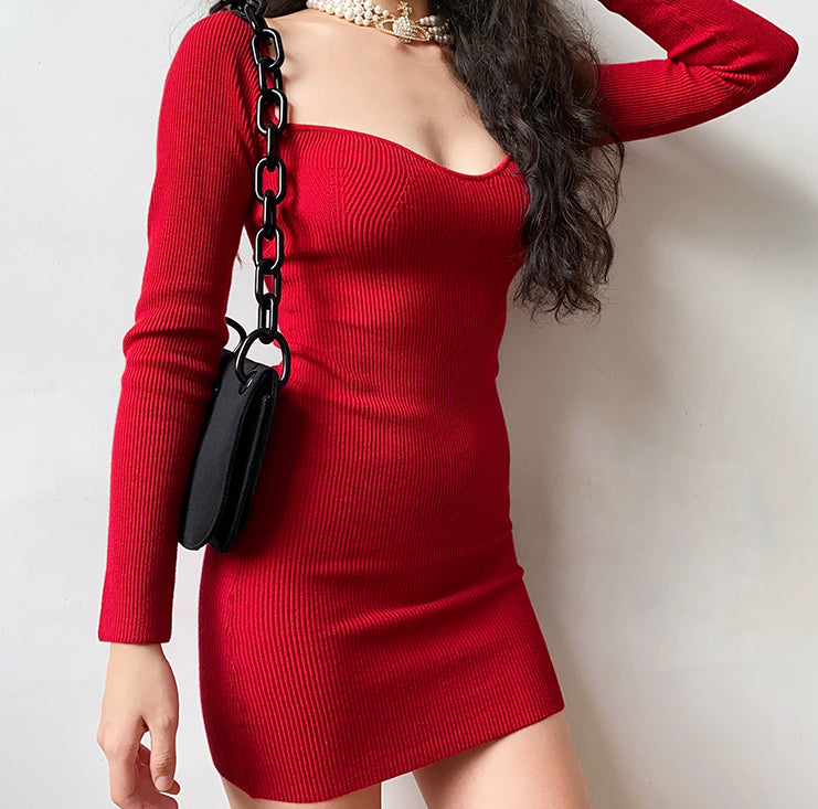 French Lover Knit Bodycon Dress ~ HANDMADE
