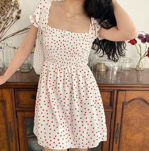 Red Polka Pastoral Dress ~ HANDMADE