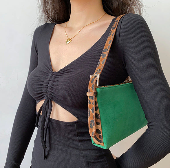 Jade Leopard Shoulder Bag ~ HANDMADE