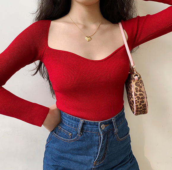 French Lover Slim Knit Longsleeve Top ~ HANDMADE // Red