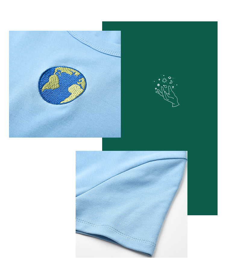 Eco-Earth Embroidered Baby Tee ~ HANDMADE