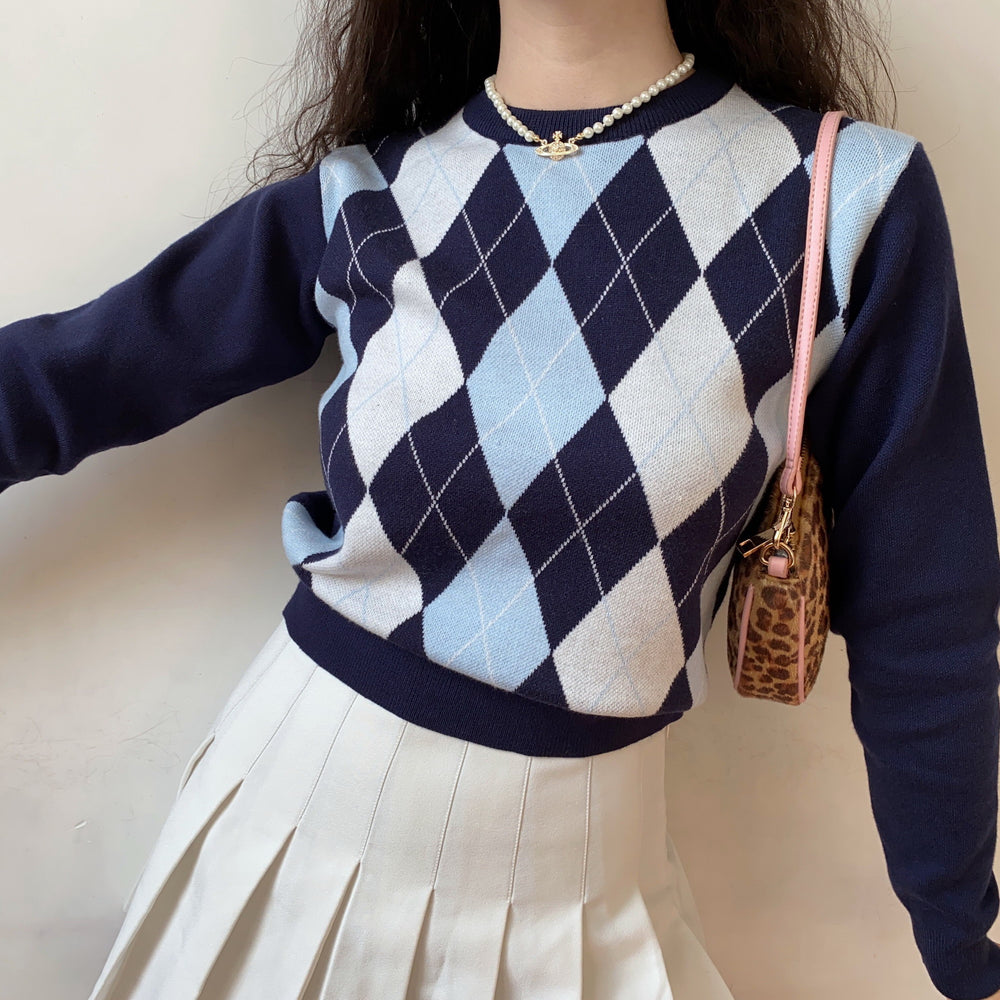 Argyle Knit Pullover Sweater