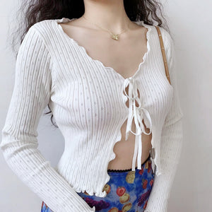 Wave Mini Tie Up Cardigan