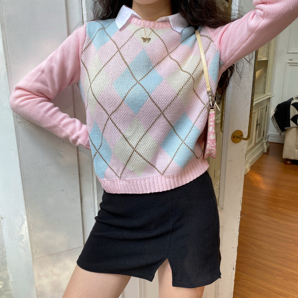Load image into Gallery viewer, Pastel Love Argyle Knit Sweater