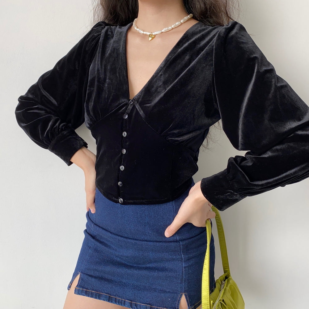 Black Swan Velvet Blouse