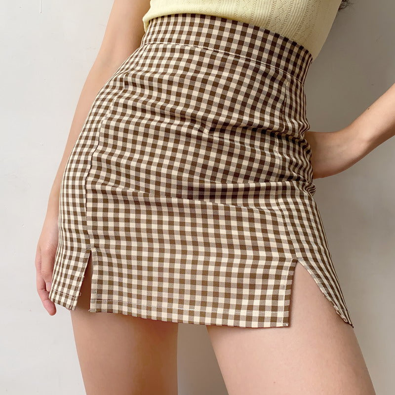 Load image into Gallery viewer, Retro Brown Plaid Split Skirt ~ HANDMADE