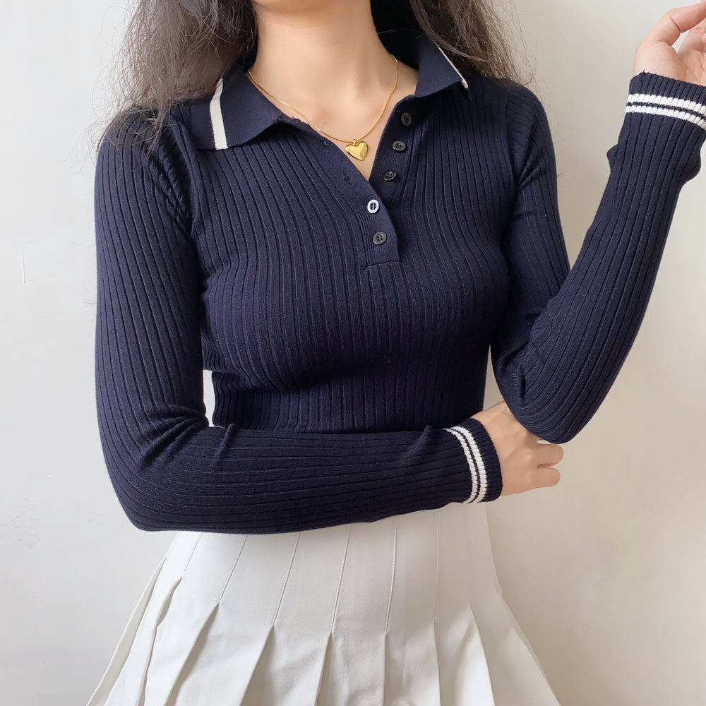 Navy Academy Polo Knit Top ~ HANDMADE