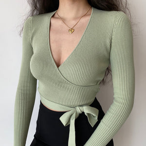 Lilah Ribbed Cross Wrap Top