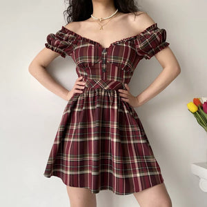 Load image into Gallery viewer, Zandria Plaid Bustier Dress ~ HANDMADE
