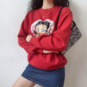 Load image into Gallery viewer, Miss Betty Crewneck ~ HANDMADE // Red