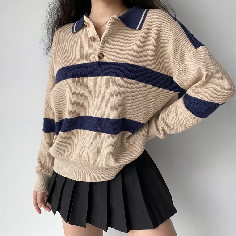 Vintage Oversized Striped Polo