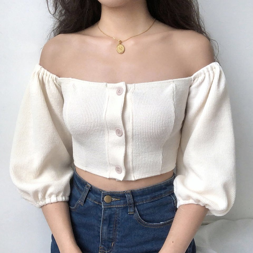 Bubble Knit Off Shoulder Top