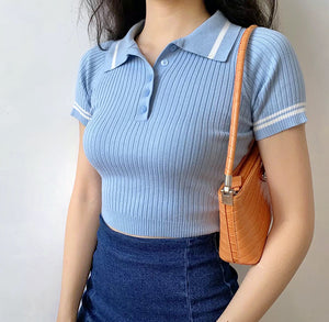 Load image into Gallery viewer, Retro Academy Polo Knit Top ~ HANDMADE