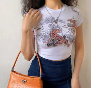 Load image into Gallery viewer, Tiger Dual Crop Tee