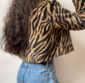 Tiger Print Plush Coat ~ HANDMADE