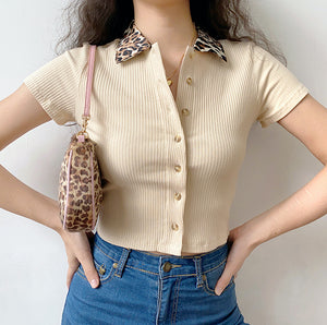 Leopard Collar Polo // Tan