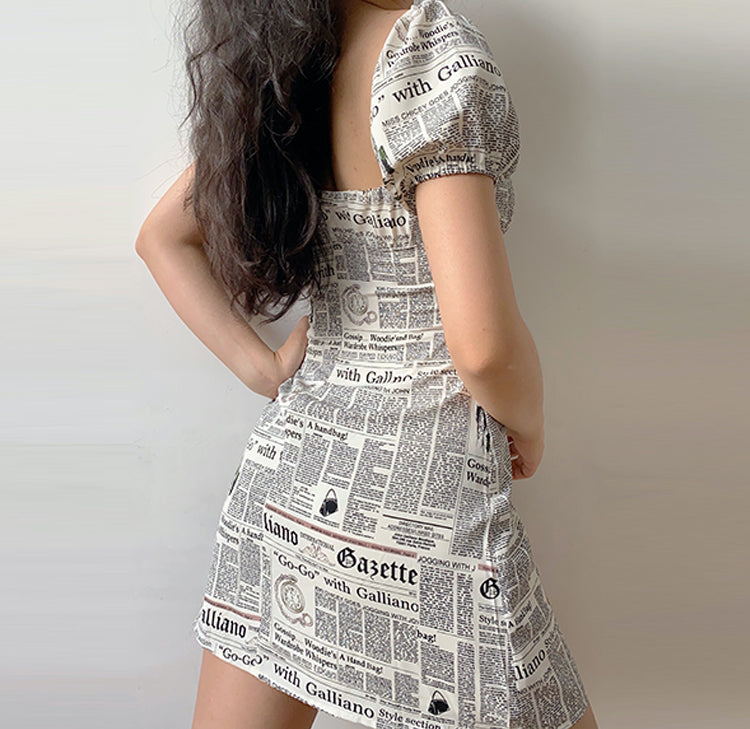 Load image into Gallery viewer, Newspaper Print Bandage Dress ~ HANDMADE