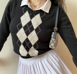 Load image into Gallery viewer, Vintage Slim Argyle Knit Sweater