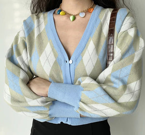 Fresh Start Argyle Cardigan