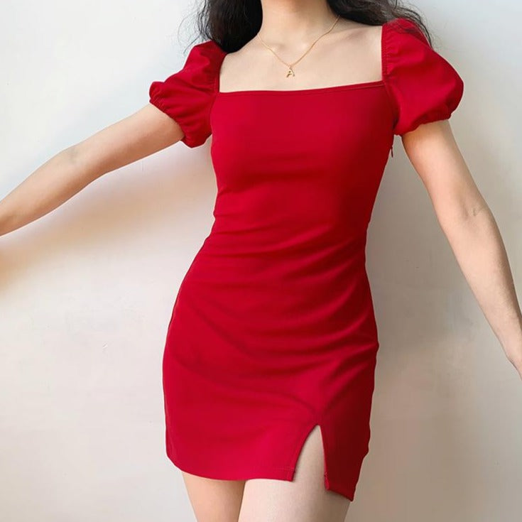 Load image into Gallery viewer, Paris Scene Mini Dress // Red ~ HANDMADE - Pellucid