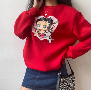 Miss Betty Crewneck ~ HANDMADE // Red