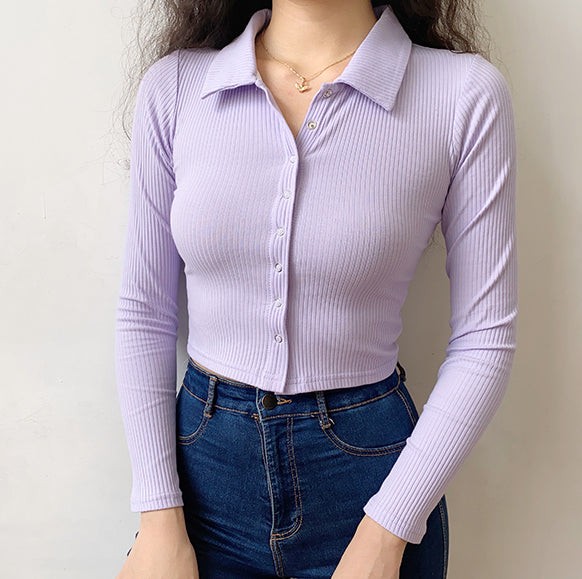 French Lilac Polo Ribbed Top