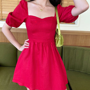 Princess Tomato Red Puff Dress ~ HANDMADE
