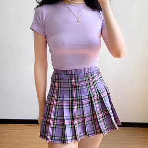 Load image into Gallery viewer, Eva Plaid Tennis Skirt // Purple