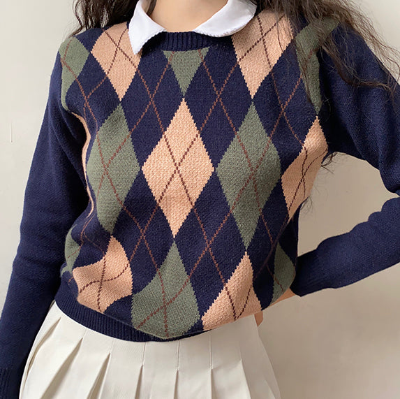 Vintage Walnut Argyle Sweater