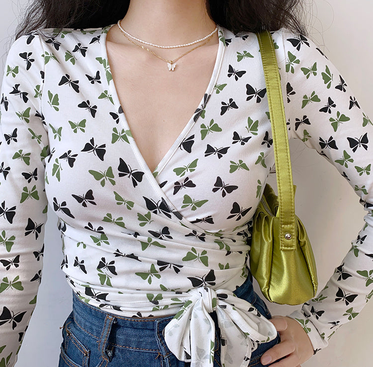 French Butterfly Wrap Top ~ HANDMADE