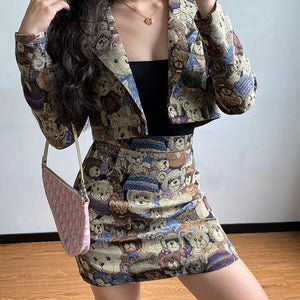 Load image into Gallery viewer, Teddy Jacquard Two-Piece Set  ~ HANDMADE