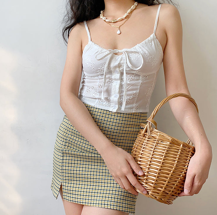 Load image into Gallery viewer, Olive Check Mini Skirt - Pellucid