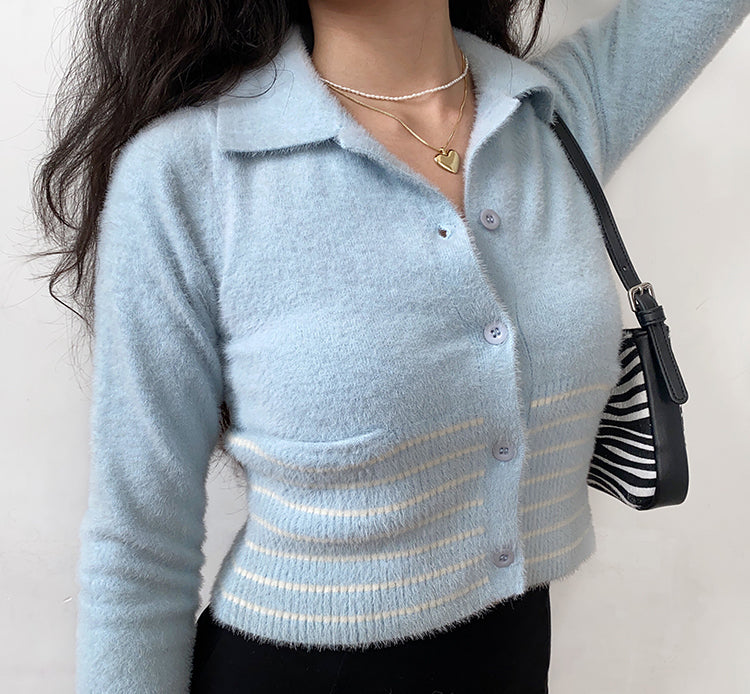 Load image into Gallery viewer, Soft Love Polo Cardigan ~ HANDMADE