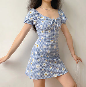 Daisies Gingham Picnic Dress ~ HANDMADE