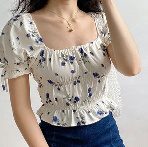 Juliet Floral Square Collar Top