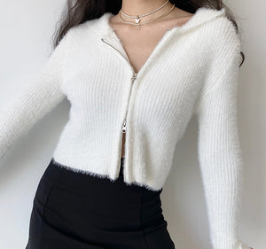 Load image into Gallery viewer, Fuzz Knit Double Zipper Cardigan