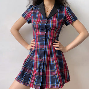 Load image into Gallery viewer, Academy Plaid Lapel Dress // Red ~ HANDMADE